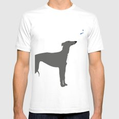 Whippet Dog White Mens Fitted Tee MEDIUM