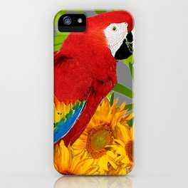 JUNGLE ART RED-BLUE MACAW PARROT & SUNFLOWERS iPhone Case