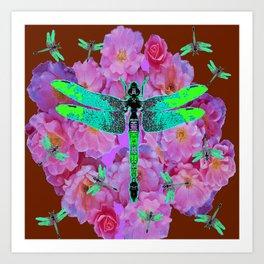 EMERALD DRAGONFLIES  PINK ROSES COFFEE BROWN Art Print