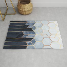 Soft Blue Hexagons Rug