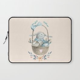 Cute Baby Bunny In a Basket Laptop Sleeve