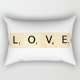 LOVE - Scrabble Letter Tiles Art Rectangular Pillow