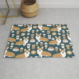 Corgi Coffee print corgi coffee pillow corgi iphone case corgi dog design corgi pattern Rug