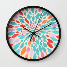 Radiant Dahlia - teal, orange, coral, pink watercolor pattern Wall Clock