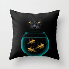 Black Cat Goldfish Throw Pillow