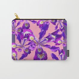 Decorative Pink Abstract Purple dutch  Iris Floral Garden Carry-All Pouch