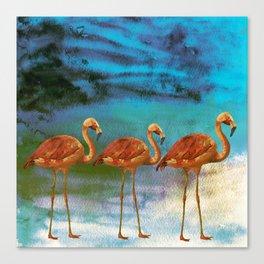Tropical Flamingo Illustration On Watercolor - Birds Animals Canvas Print