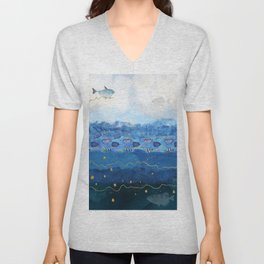 Sky Fish - Warming Oceans and Sea Level Rising Unisex V-Neck