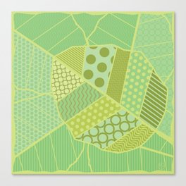 The Unique One (Green Patterned Leaf Patchwork) Canvas Print