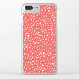 teeny white flowers on pink Clear iPhone Case