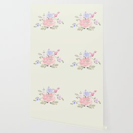 Spring watercolor flowers center piece on light background Wallpaper