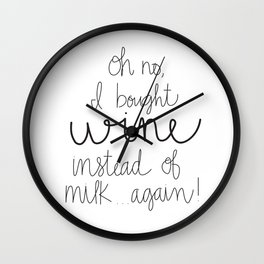 I Bought Wine Instead of Milk Wall Clock