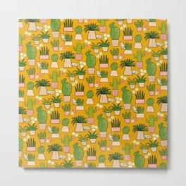 Cactus Cat Yellow Metal Print
