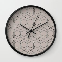 Silver Geometric Art Deco - Gatsby Taupe Wall Clock