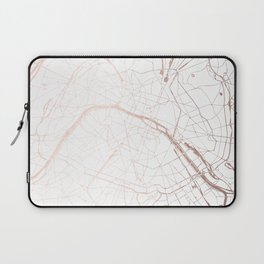 Paris France Minimal Street Map - Rose Gold Glitter Laptop Sleeve