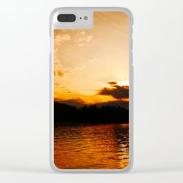 Foys Lake Montana at Sunset, Water Reflection, Neutral Colors Clear iPhone Case