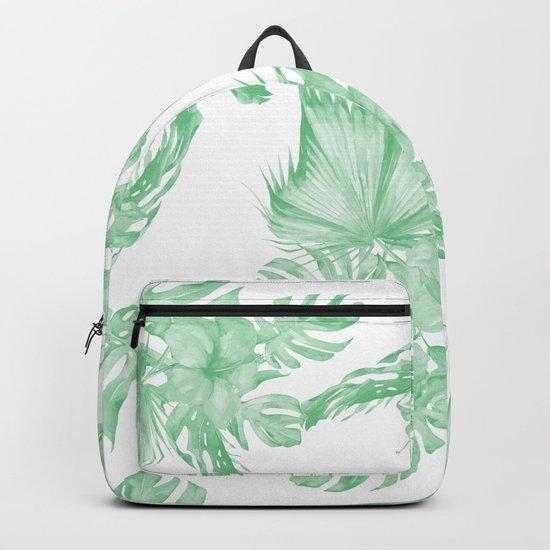 Island Tropical Green White Jungle Backpack