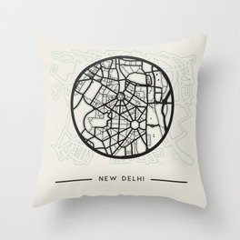 New Delhi Abstract City Map Throw Pillow