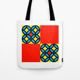 Colored Circles Red Squares Tote Bag