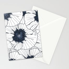 Navy and white poppies Stationery Cards