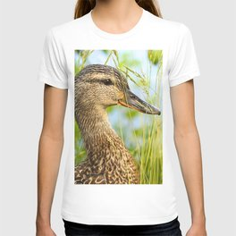 Wild Duck Portrait Nature Background #decor #society6 #buyart T-shirt