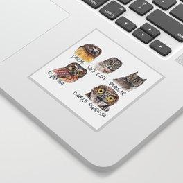 Owl Caffeine Meter -  funny owl coffee Sticker