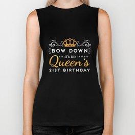 21st Birthday Shirt For Her - Bow Down Queen Gold Biker Tank