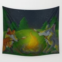 camp Wall Tapestries featuring Camp Aurooo by KristenOKeefeArt