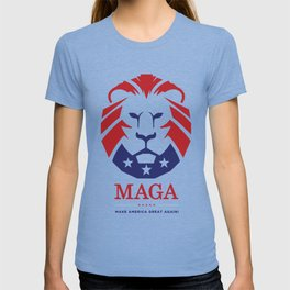 MAGA Make America Great Again USA Lion logo red T-shirt