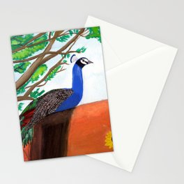Peacock Gouache Painting Stationery Cards