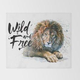 Lion Wild and Free Throw Blanket