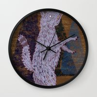 coyote Wall Clocks featuring COYOTE by Kevin Whipple