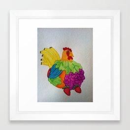 Fruit Chicken Watercolor Framed Art Print