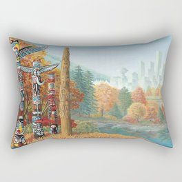 Vancouver Two Worlds Collide Landscape Painting Rectangular Pillow