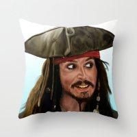 jack sparrow Throw Pillows featuring Jack Sparrow by San Fernandez