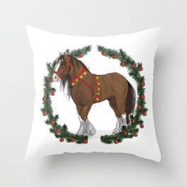 Brown Draft Horse in Merry Wreath Throw Pillow
