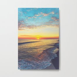 Summer Sunset Ocean Beach - Nature Photography Metal Print