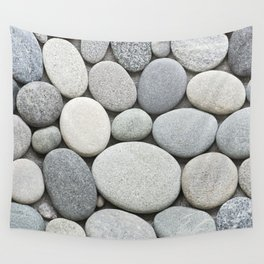 Grey Beige Smooth Pebble Collection Wall Tapestry