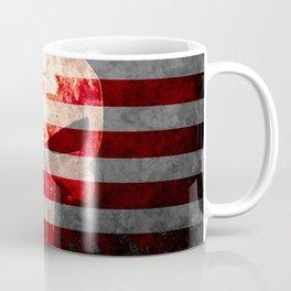 Punisher Themed Skull and American Flag on Distressed Metal Coffee Mug