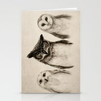 owls Stationery Cards featuring The Owl's 3 by Isaiah K. Stephens
