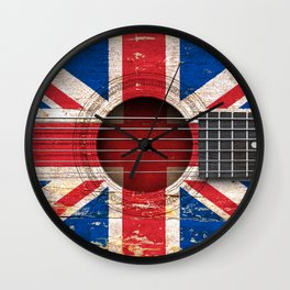 Old Vintage Acoustic Guitar with Union Jack British Flag Wall Clock