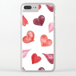 watercolor love pattern with hearts Clear iPhone Case
