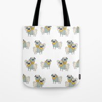 pugs Tote Bags featuring Pugs by Ann Rubin
