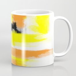 orange yellow and black painting abstract with white background Coffee Mug