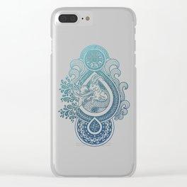 Paisley Capricornus | Turquoise Blue Ombré Clear iPhone Case