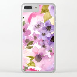 Pink Purple Watercolor Flowers Clear iPhone Case