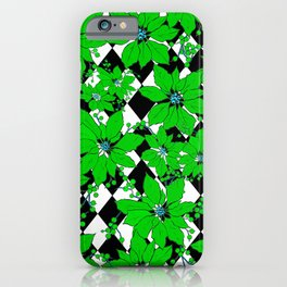 POINSETTIAS AND HARLEQUINS GREEN AND BLACK iPhone Case