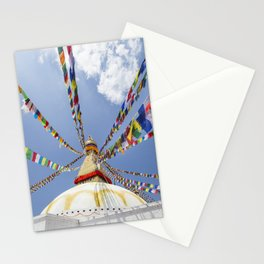 Tibetan prayer flags at Boudha stupa in Kathmandu, Nepal Stationery Cards