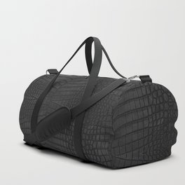 Black Crocodile Leather Print Duffle Bag