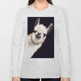 Sneaky Llama in Black Long Sleeve T-shirt